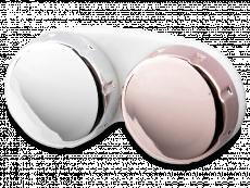 Glanzende houder voor contactlenzen – roze/zilver