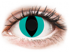 CRAZY LENS - Cat Eye Aqua - zonder sterkte (2 gekleurde daglenzen)